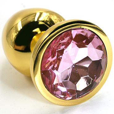 Kanikule Малая анальная пробка, золотая Со светло-розовым кристаллом пикантные штучки большая анальная пробка золотая с фиолетовым кристаллом