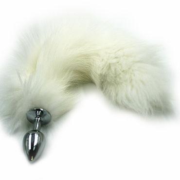 Kanikule Анальная пробка из металла, серебристая С хвостом из натурально меха kanikule анальная цепочка в виде сердечек