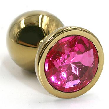 Kanikule Средняя анальная пробка, золотая С темно-розовым кристаллом lovetoy gold spiral голубой золотая анальная втулка с голубым кристаллом