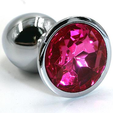 Kanikule Малая анальная пробка, серебристая С темно-розовым кристаллом kanikule малая анальная пробка серебристая с фиолетовой сферой в основании