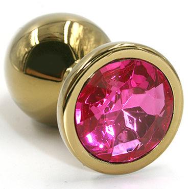 Kanikule Малая анальная пробка, золотая С темно-розовым кристаллом kanikule средняя анальная пробка золотая с темно розовым кристаллом