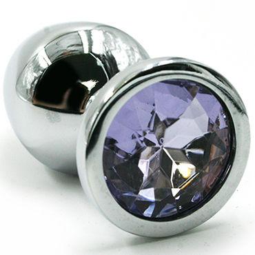 Kanikule Средняя анальная пробка, серебристая Со светло-фиолетовым кристаллом пикантные штучки большая анальная пробка золотая с фиолетовым кристаллом