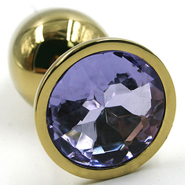 Kanikule Средняя анальная пробка, золотая Со светло-фиолетовым кристаллом kanikule средняя анальная пробка черная с темно фиолетовым кристаллом