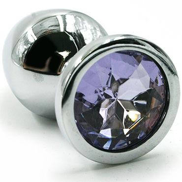Kanikule Малая анальная пробка, серебристая Со светло-фиолетовым кристаллом пикантные штучки большая анальная пробка золотая с фиолетовым кристаллом