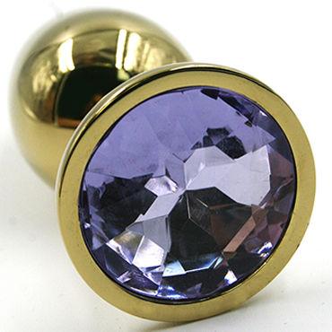 Kanikule Малая анальная пробка, золотая Со светло-фиолетовым кристаллом kanikule анальная пробка из металла золотая с хвостом из натурально меха