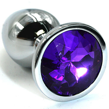 Kanikule Средняя анальная пробка, серебристая С темно-фиолетовым кристаллом kanikule средняя анальная пробка розовая с темно зеленым кристаллом