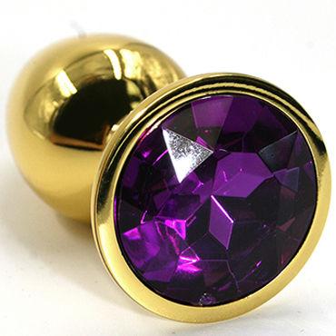 Kanikule Средняя анальная пробка, золотая С темно-фиолетовым кристаллом kanikule средняя анальная пробка золотая с темно розовым кристаллом