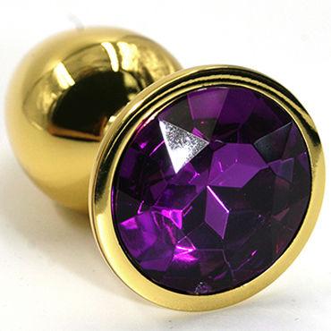 Kanikule Малая анальная пробка, золотая С темно-фиолетовым кристаллом мужские духи с феромонами eol eye of love
