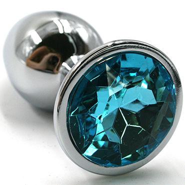 Kanikule Средняя анальная пробка, серебристая С голубым кристаллом набор lover s fantasy наручники маска плетка