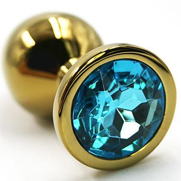 Kanikule Средняя анальная пробка, золотая С голубым кристаллом kanikule средняя анальная пробка золотая с темно розовым кристаллом