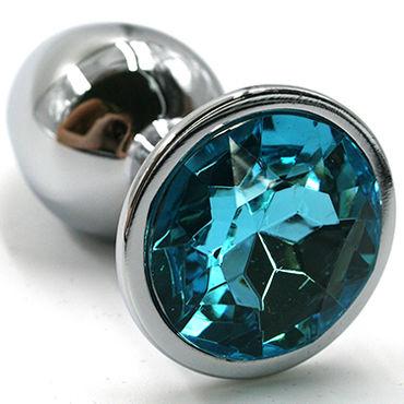 Kanikule Малая анальная пробка, серебристая С голубым кристаллом kanikule средняя анальная пробка черная с голубым кристаллом