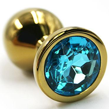 Kanikule Малая анальная пробка, золотая С голубым кристаллом kanikule средняя анальная пробка золотая с голубым кристаллом