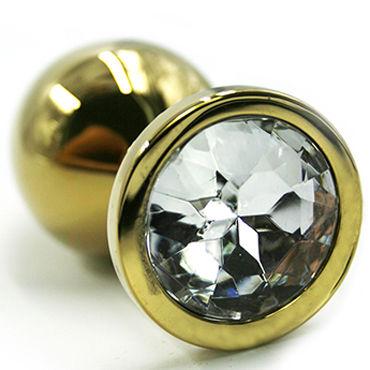 Kanikule Большая анальная пробка, золотая С прозрачным кристаллом анальная пробка большая металл золото красный страз