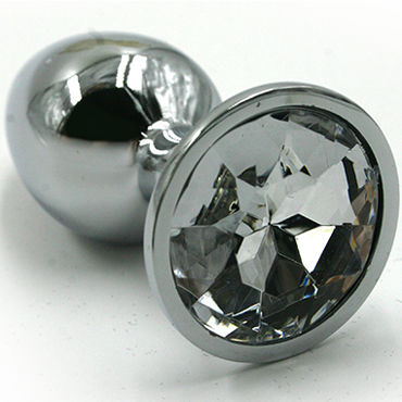Kanikule Средняя анальная пробка, серебристая С прозрачным кристаллом wild lust анальная пробка 4 см серый с лисьим хвостом