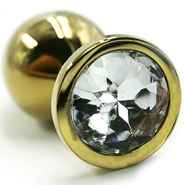 Kanikule Средняя анальная пробка, золотая С прозрачным кристаллом masculan gold luxury edition презервативы с золотистым напылением