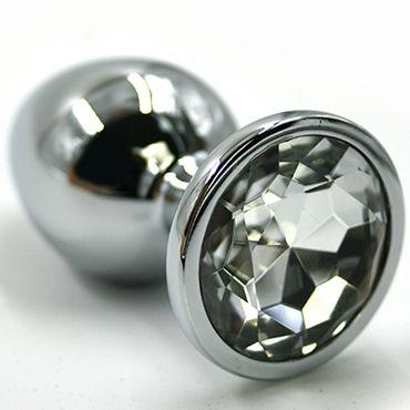 Kanikule Малая анальная пробка, серебристая С прозрачным кристаллом topco climax gems crystal ring прозрачное эрекционное кольцо с вибрацией