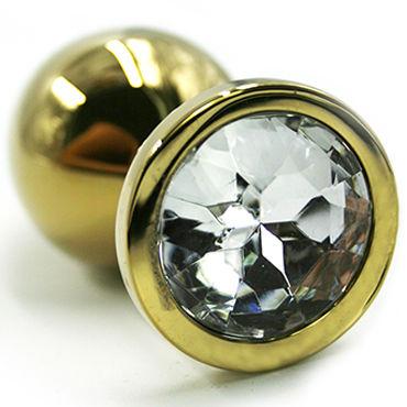 Kanikule Малая анальная пробка, золотая С прозрачным кристаллом smile pointer черный анальная пробка на присоске большая