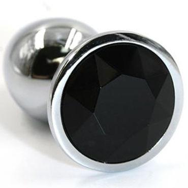 Kanikule Большая анальная пробка, серебристая С черным кристаллом насадка удлинитель 5 см cyberskin минивибратор