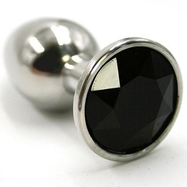 Kanikule Средняя анальная пробка, серебристая С черным кристаллом пикантные штучки большая анальная пробка золотая с фиолетовым кристаллом