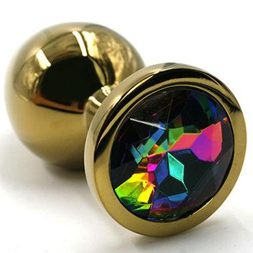 Kanikule Средняя анальная пробка, золотая С радужным кристаллом kanikule средняя анальная пробка розовая с радужным кристаллом