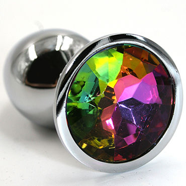 Kanikule Малая анальная пробка, серебристая С радужным кристаллом kanikule средняя анальная пробка серебристая с черным кристаллом