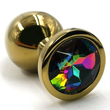 Kanikule Малая анальная пробка, золотая С радужным кристаллом wild lust анальная пробка 4см оранжево черный с заячьим хвостом