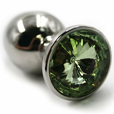 Kanikule Большая анальная пробка, серебристая Со светло-зеленым кристаллом shirley колготки в крупную сетку