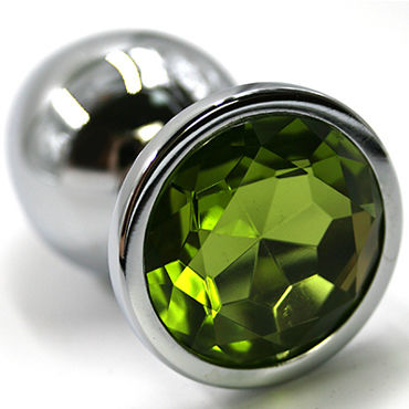 Kanikule Средняя анальная пробка, серебристая Со светло-зеленым кристаллом wild lust анальная пробка 4 см серый с лисьим хвостом