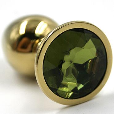 Kanikule Средняя анальная пробка, золотая Со светло-зеленым кристаллом пикантные штучки большая анальная пробка золотая с фиолетовым кристаллом