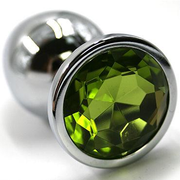 Kanikule Малая анальная пробка, серебристая Со светло-зеленым кристаллом kanikule средняя анальная пробка золотая со светло зеленым кристаллом