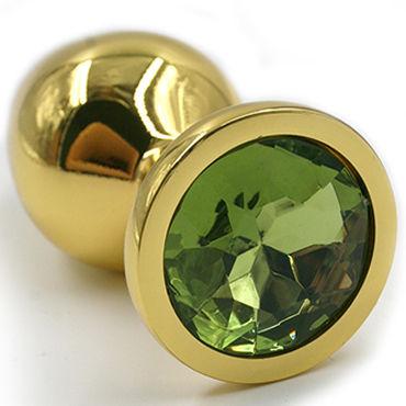 Kanikule Малая анальная пробка, золотая Со светло-зеленым кристаллом пикантные штучки большая анальная пробка золотая с фиолетовым кристаллом