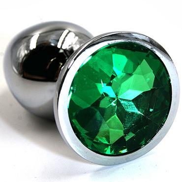 Kanikule Средняя анальная пробка, серебристая С темно-зеленым кристаллом wild lust анальная пробка 4 см серый с лисьим хвостом