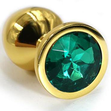 Kanikule Средняя анальная пробка, золотая С темно-зеленым кристаллом mif realistic 5