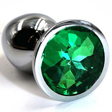 Kanikule Малая анальная пробка, серебристая С темно-зеленым кристаллом kanikule средняя анальная пробка розовая с темно зеленым кристаллом