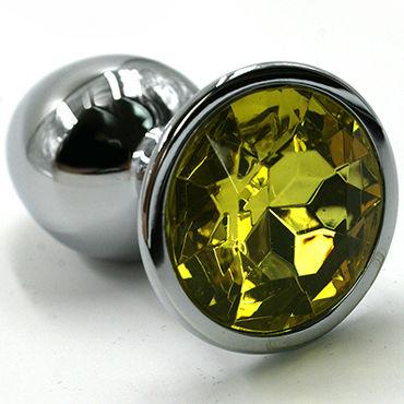 Kanikule Средняя анальная пробка, серебристая Со светло-желтым кристаллом wild lust анальная пробка 4 см серый с лисьим хвостом