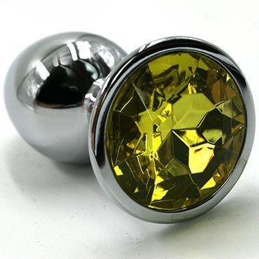 Kanikule Малая анальная пробка, серебристая Со светло-желтым кристаллом you2toys black velvets большая анальная пробка