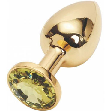 Kanikule Малая анальная пробка, золотая Со светло-желтым кристаллом djaga djaga анальная пробка с живым цветком