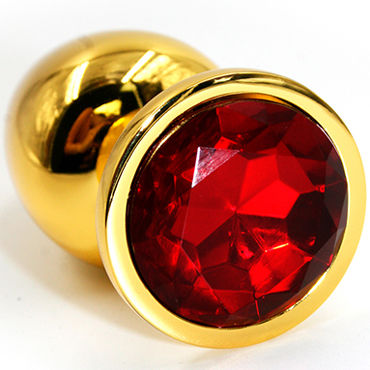 Kanikule Средняя анальная пробка, золотая С красным кристаллом ovo r1 виброяйцо фиолетовое на дистанционном управлении