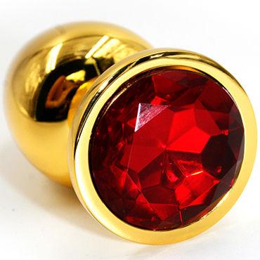 Kanikule Средняя анальная пробка, золотая С красным кристаллом крем elbow grease cool от mister b 266 мл