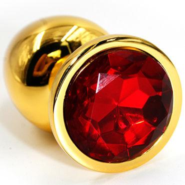 Kanikule Малая анальная пробка, золотая С красным кристаллом пикантные штучки большая анальная пробка золотая с фиолетовым кристаллом