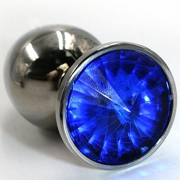 Kanikule Большая анальная пробка, серебристая С темно-синим кристаллом анальный cтимулятор penis probe clear blue