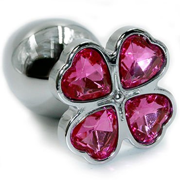 Kanikule Малая анальная пробка, серебристая С розовым кристаллом в форме четырёхлистного клевера kanikule анальная цепочка в виде сердечек