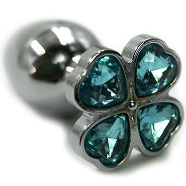 Kanikule Малая анальная пробка, серебристая С голубым кристаллом в форме четырёхлистного клевера kanikule анальная цепочка в виде сердечек