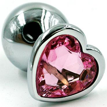 Kanikule Средняя анальная пробка, серебристая Со светло-розовым кристаллом в форме сердца kanikule анальная цепочка в виде сердечек