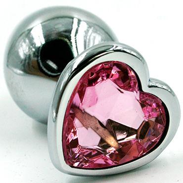 Kanikule Малая анальная пробка, серебристая Со светло-розовым кристаллом в форме сердца