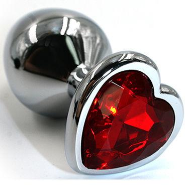 Kanikule Средняя анальная пробка, серебристая С красным кристаллом в форме сердца shunga massage candle 170мл массажная свеча пьянящий шоколад