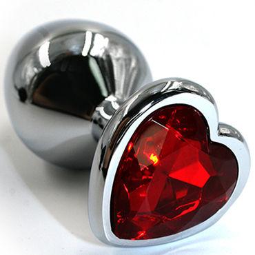 Kanikule Малая анальная пробка, серебристая С красным кристаллом в форме сердца bioclon android style вибратор телесный реалистик с многоскоростной вибрацией