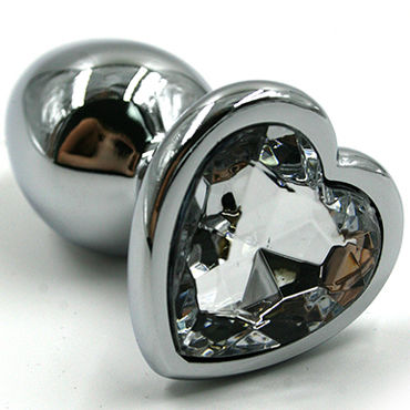 Kanikule Средняя анальная пробка, серебристая С прозрачным кристаллом в форме сердца you2toys black velvets большая анальная пробка