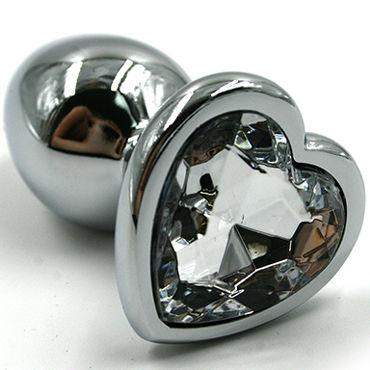 Kanikule Малая анальная пробка, серебристая С прозрачным кристаллом в форме сердца минивибраторы материал живая кожа киберкожа киберскин