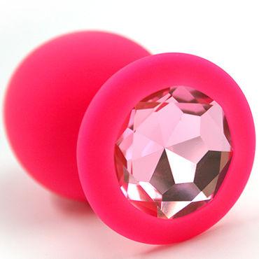 Kanikule Большая анальная пробка, розовая С розовым кристаллом djaga djaga анальная пробка с живым цветком